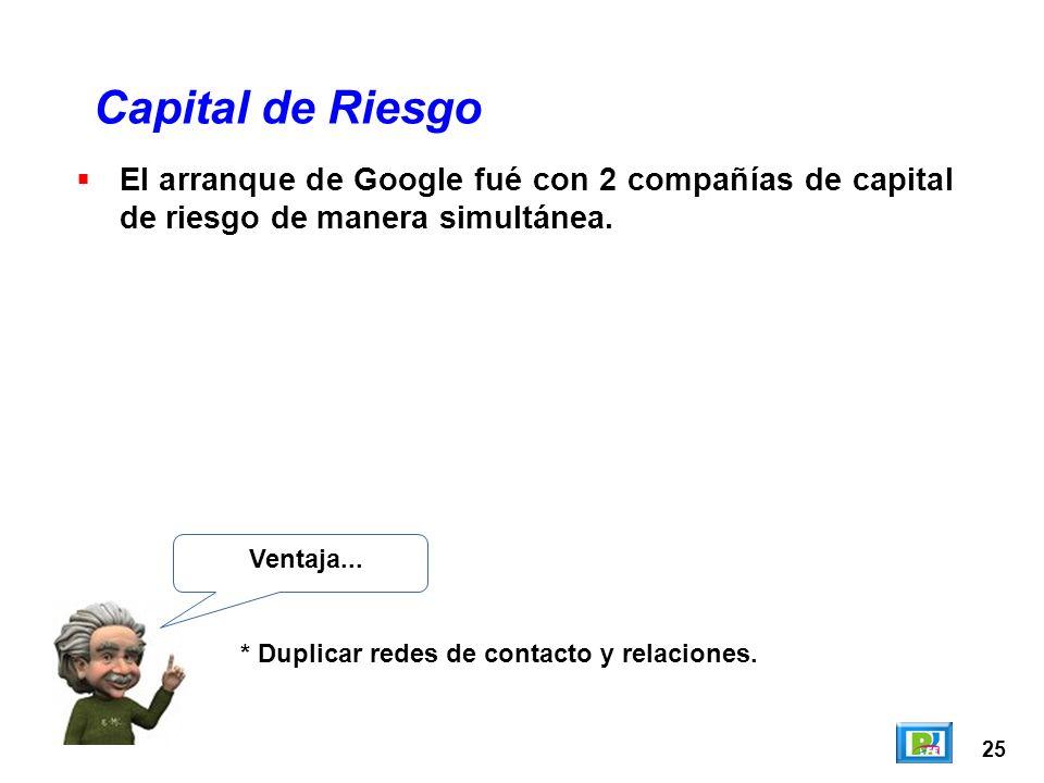 25 El arranque de Google fué con 2 compañías de capital de riesgo de manera simultánea. Capital de Riesgo Ventaja... * Duplicar redes de contacto y re
