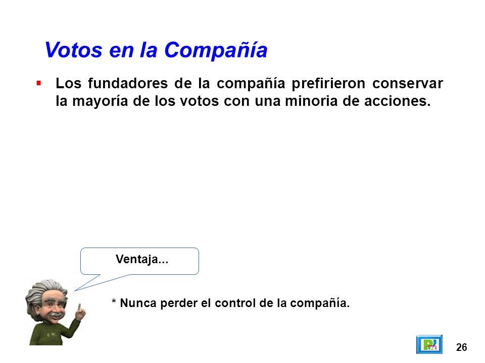 26 Los fundadores de la compañía prefirieron conservar la mayoría de los votos con una minoria de acciones. Votos en la Compañía Ventaja... * Nunca pe