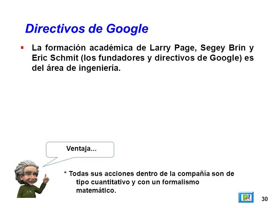 30 Directivos de Google Ventaja... * Todas sus acciones dentro de la compañía son de tipo cuantitativo y con un formalismo matemático. La formación ac