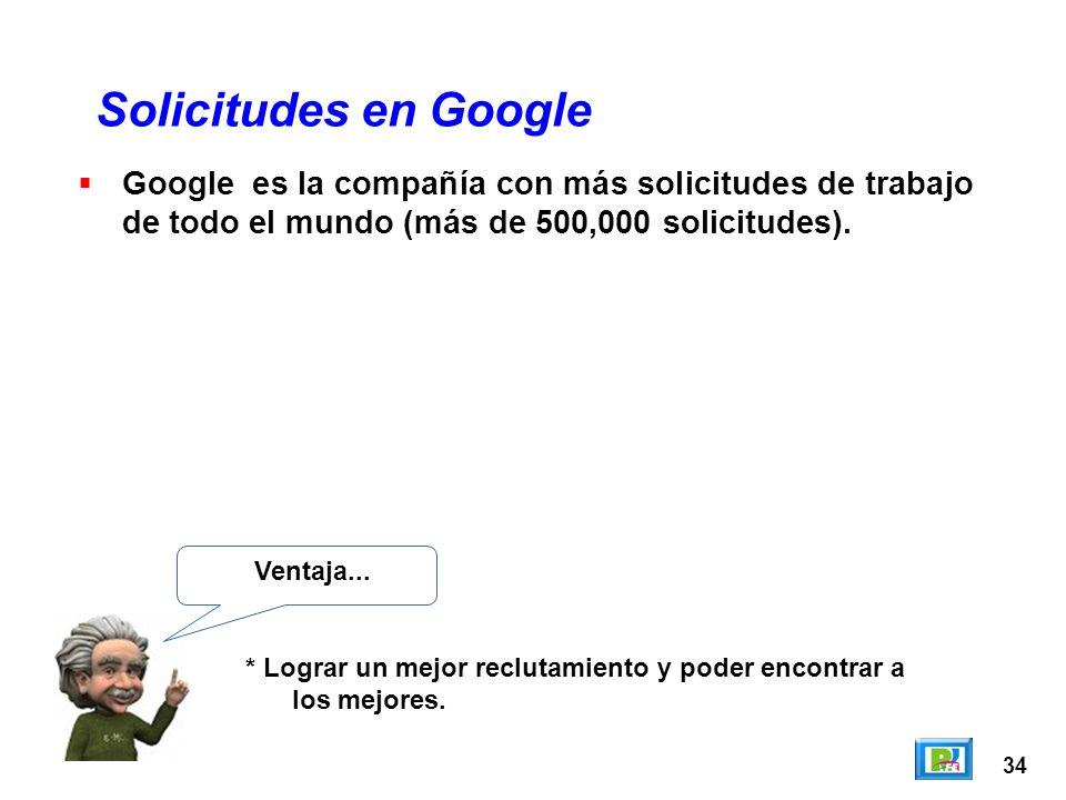 34 Solicitudes en Google Ventaja... * Lograr un mejor reclutamiento y poder encontrar a los mejores. Google es la compañía con más solicitudes de trab