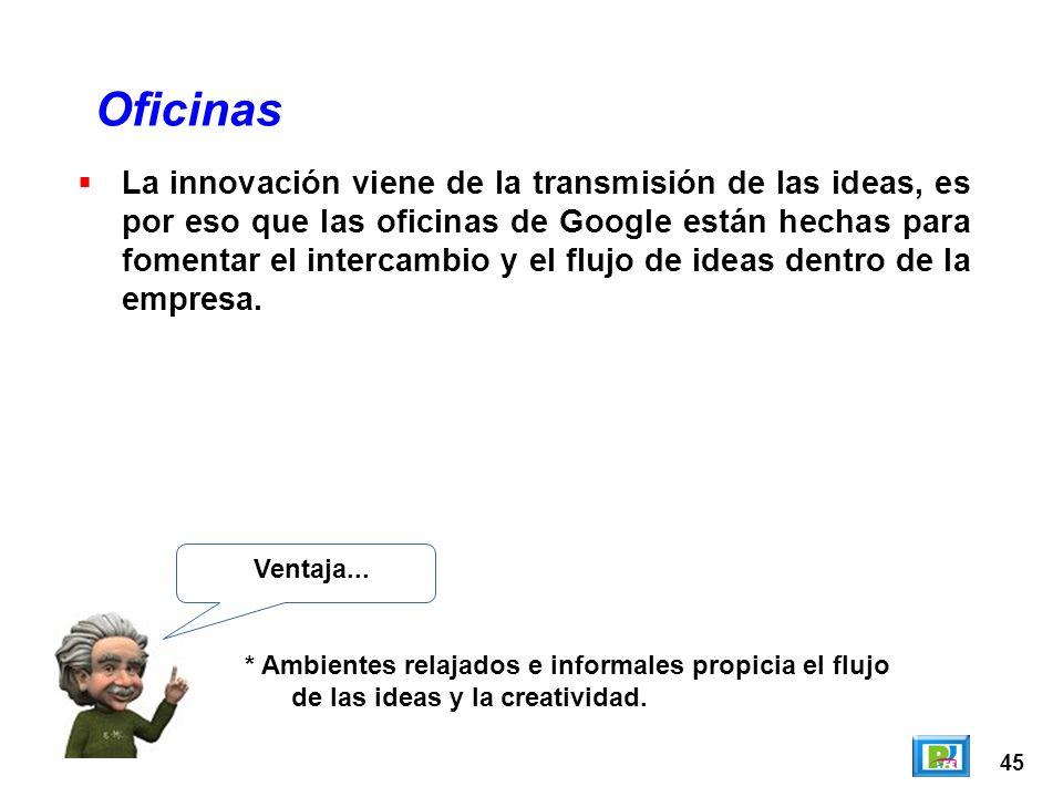 45 Oficinas Ventaja... * Ambientes relajados e informales propicia el flujo de las ideas y la creatividad. La innovación viene de la transmisión de la