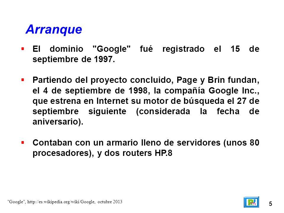 6 Arranque Andreas von Bechtolsheim , http://es.wikipedia.org/wiki/Andy_Bechtolsheime, octubre 2013 Andreas von Bechtolsheim entregó a Larry y Sergey 100,000 dólares para el arranque de Google, después de platicar con ellos.