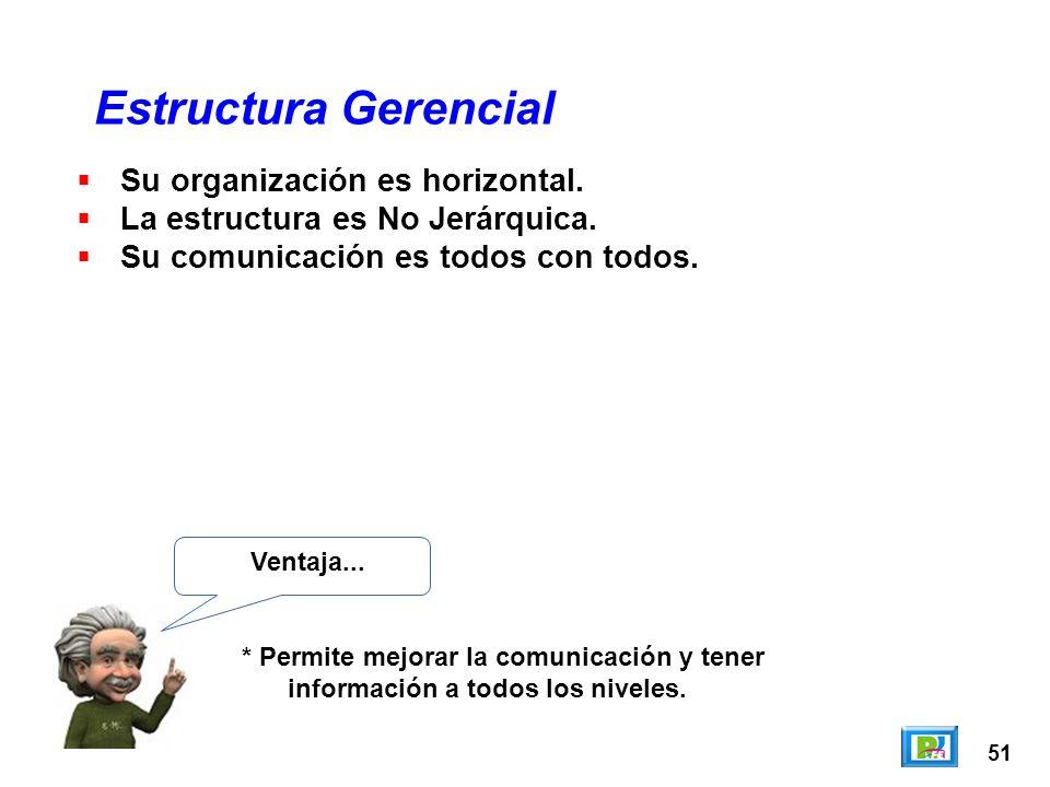 51 Estructura Gerencial Ventaja... * Permite mejorar la comunicación y tener información a todos los niveles. Su organización es horizontal. La estruc
