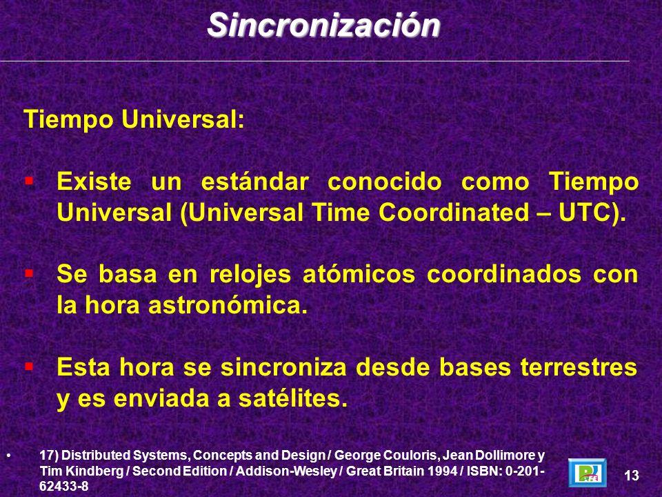 Tiempo Universal: Existe un estándar conocido como Tiempo Universal (Universal Time Coordinated – UTC). Se basa en relojes atómicos coordinados con la