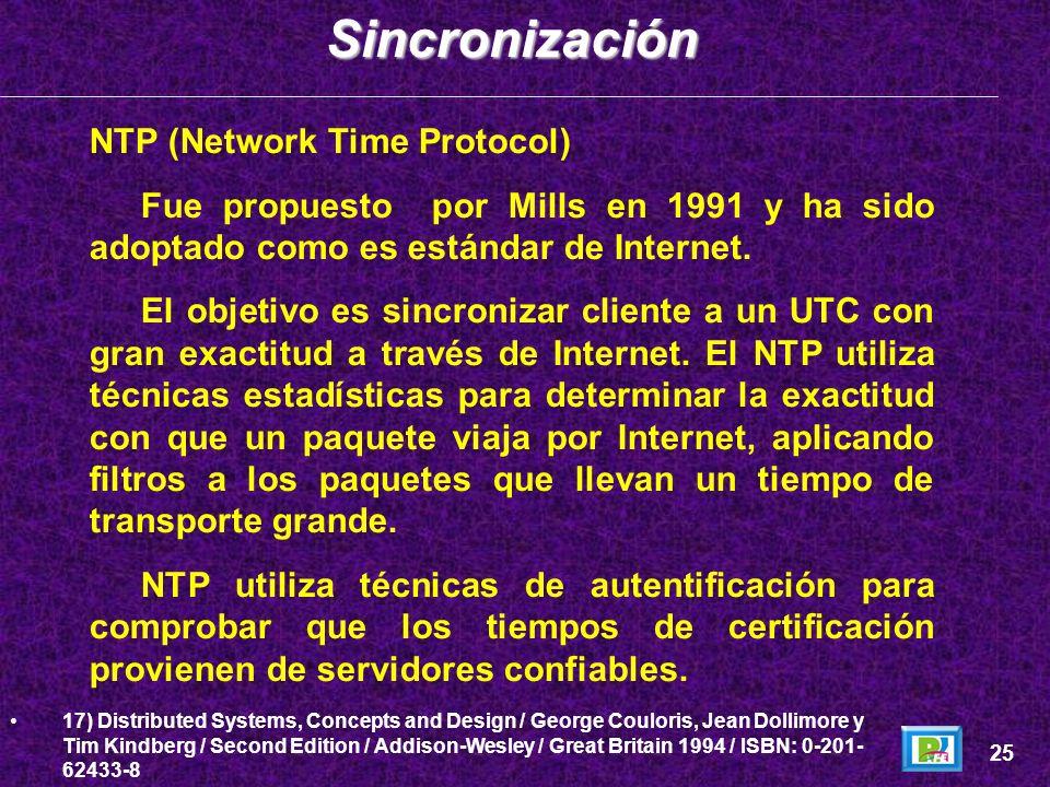 NTP (Network Time Protocol) Fue propuesto por Mills en 1991 y ha sido adoptado como es estándar de Internet. El objetivo es sincronizar cliente a un U