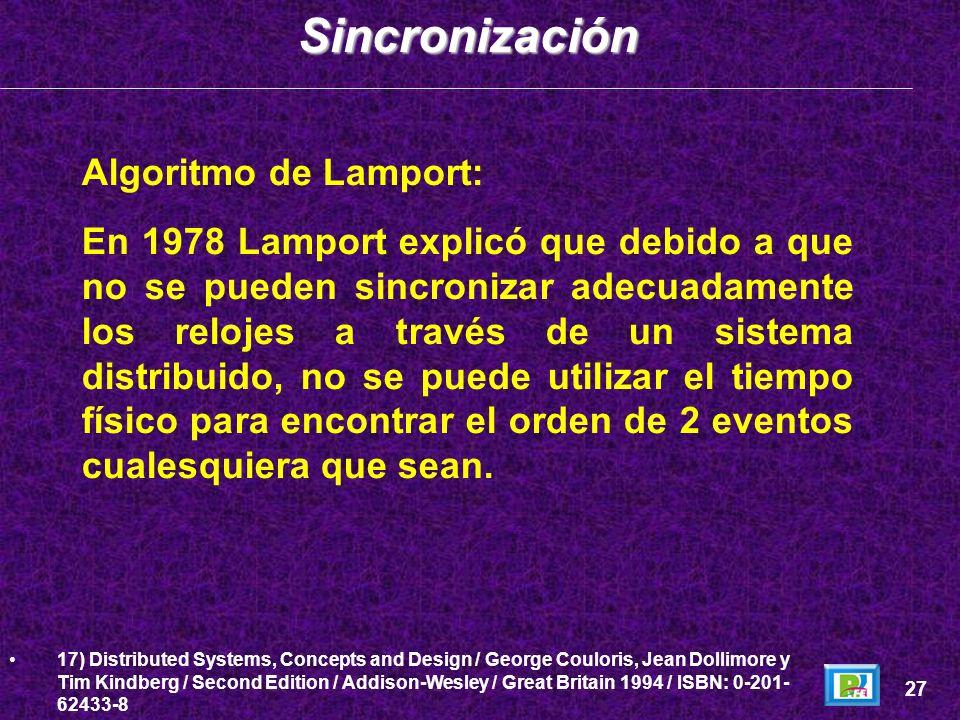Algoritmo de Lamport: En 1978 Lamport explicó que debido a que no se pueden sincronizar adecuadamente los relojes a través de un sistema distribuido,
