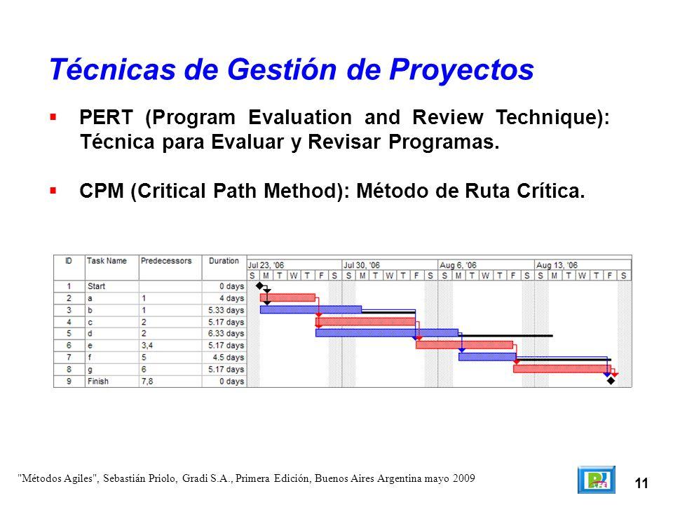 11 PERT (Program Evaluation and Review Technique): Técnica para Evaluar y Revisar Programas. CPM (Critical Path Method): Método de Ruta Crítica. Técni