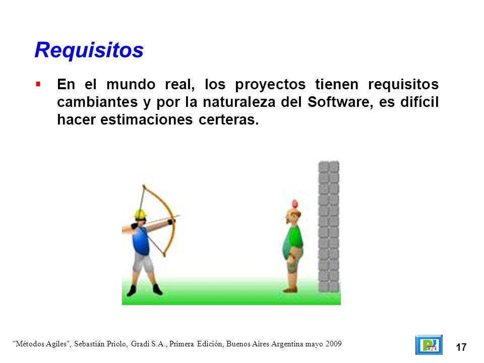 17 En el mundo real, los proyectos tienen requisitos cambiantes y por la naturaleza del Software, es difícil hacer estimaciones certeras. Requisitos