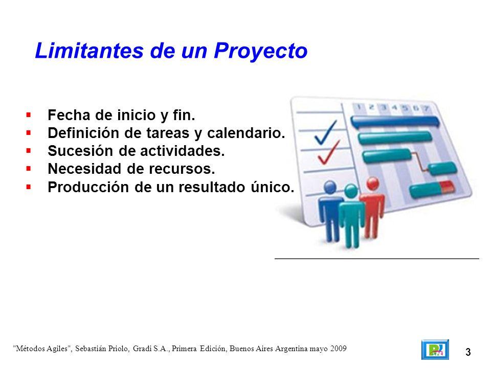 3 Fecha de inicio y fin. Definición de tareas y calendario. Sucesión de actividades. Necesidad de recursos. Producción de un resultado único. Limitant