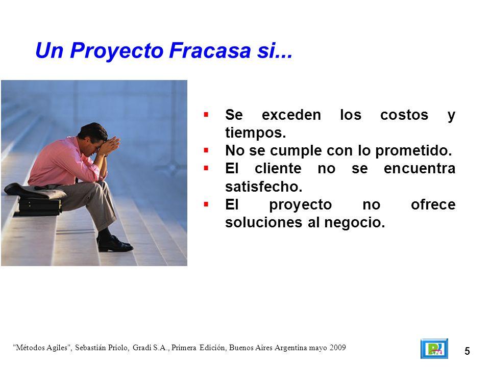 5 Se exceden los costos y tiempos. No se cumple con lo prometido. El cliente no se encuentra satisfecho. El proyecto no ofrece soluciones al negocio.