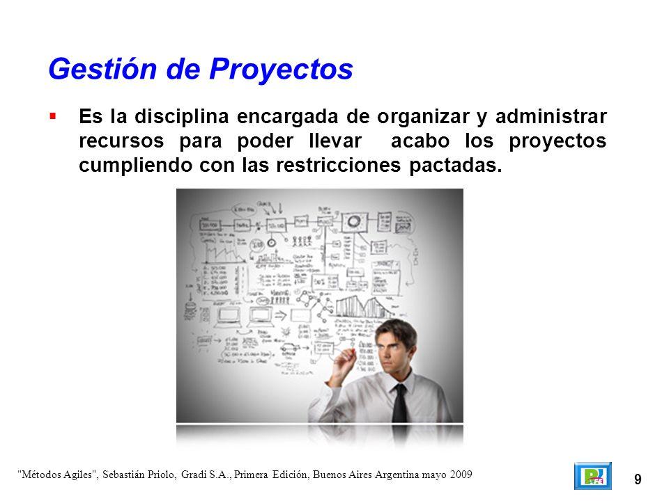 9 Es la disciplina encargada de organizar y administrar recursos para poder llevar acabo los proyectos cumpliendo con las restricciones pactadas. Gest