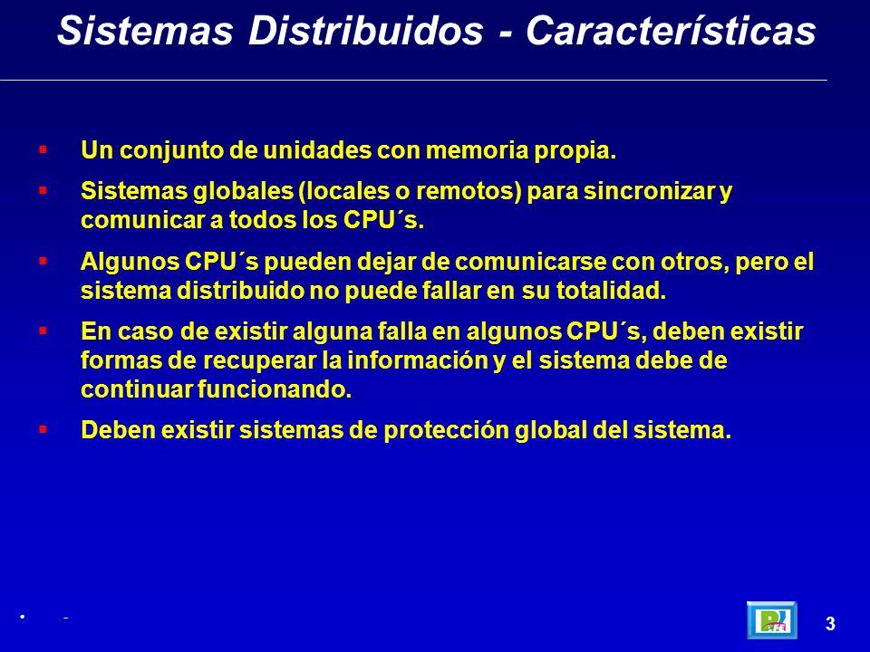 3 Sistemas Distribuidos - Características - Un conjunto de unidades con memoria propia. Sistemas globales (locales o remotos) para sincronizar y comun