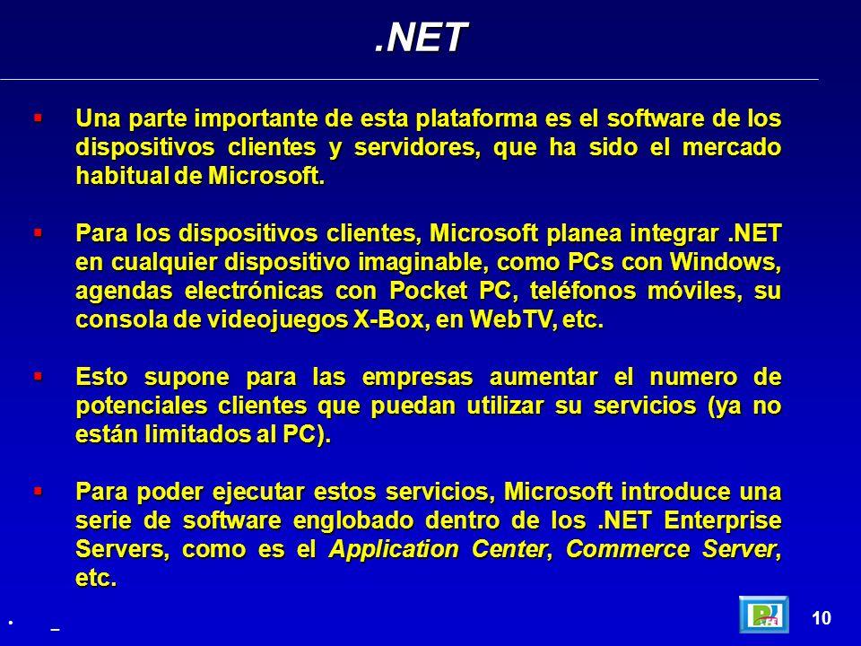 Una parte importante de esta plataforma es el software de los dispositivos clientes y servidores, que ha sido el mercado habitual de Microsoft. Una pa