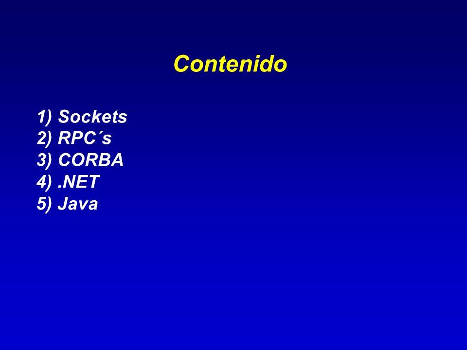 Contenido 1) Sockets 2) RPC´s 3) CORBA 4).NET 5) Java