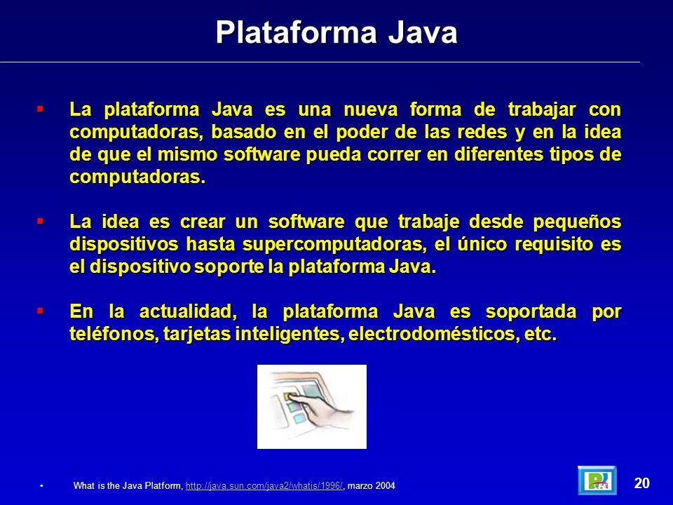 La plataforma Java es una nueva forma de trabajar con computadoras, basado en el poder de las redes y en la idea de que el mismo software pueda correr