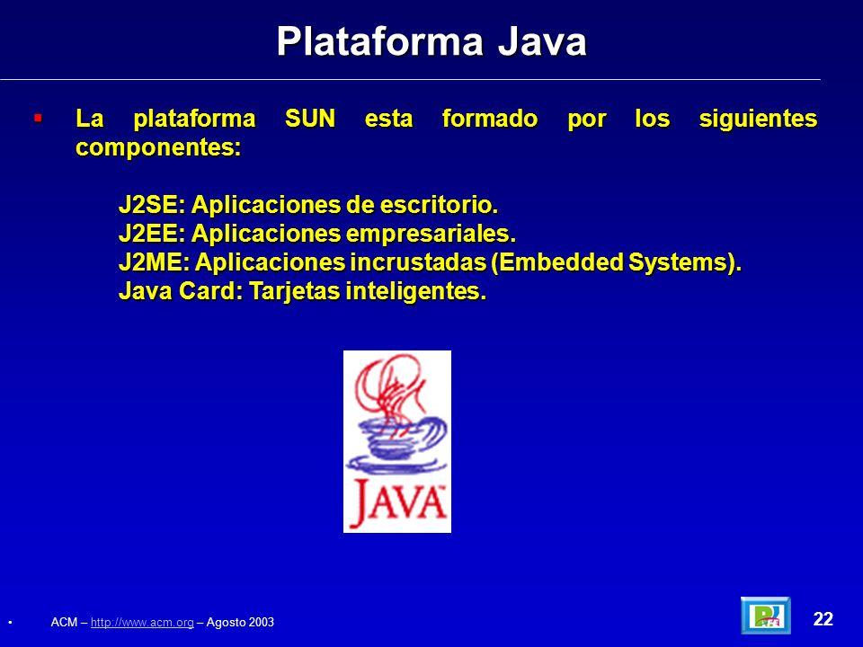 La plataforma SUN esta formado por los siguientes componentes: La plataforma SUN esta formado por los siguientes componentes: J2SE: Aplicaciones de es