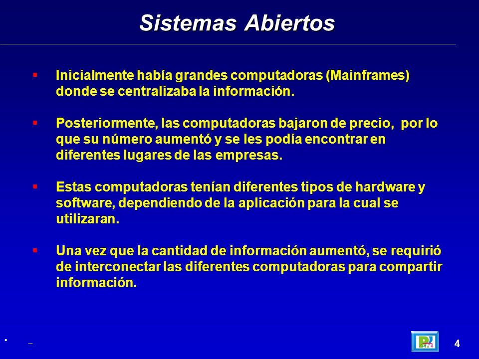 Sistemas Abiertos 4 _ Inicialmente había grandes computadoras (Mainframes) donde se centralizaba la información. Posteriormente, las computadoras baja