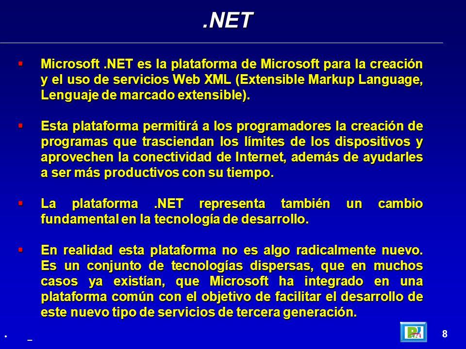 Microsoft.NET es la plataforma de Microsoft para la creación y el uso de servicios Web XML (Extensible Markup Language, Lenguaje de marcado extensible