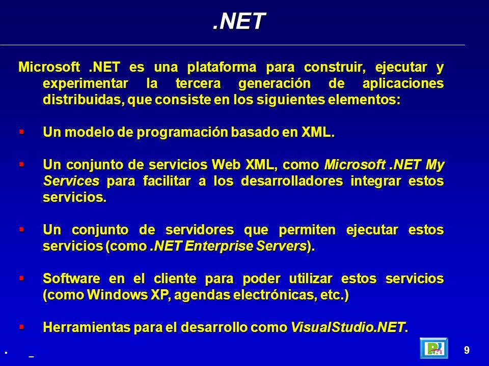 Microsoft.NET es una plataforma para construir, ejecutar y experimentar la tercera generación de aplicaciones distribuidas, que consiste en los siguie
