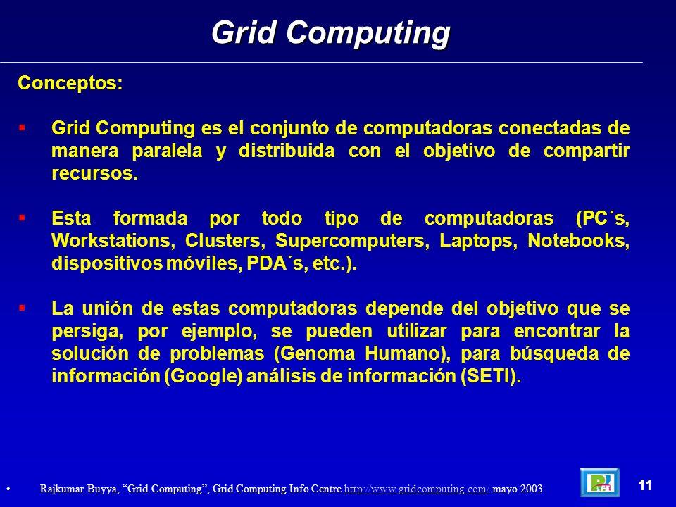 Conceptos: Grid Computing es el conjunto de computadoras conectadas de manera paralela y distribuida con el objetivo de compartir recursos. Esta forma