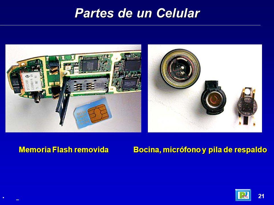 Partes de un Celular 21 _ Memoria Flash removida Bocina, micrófono y pila de respaldo