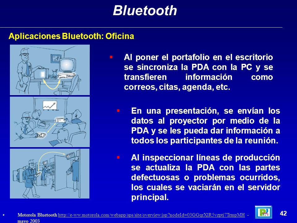 Aplicaciones Bluetooth: Oficina Bluetooth 42 Motorola Bluetooth http://e-ww.motorola.com/webapp/sps/site/overview.jsp?nodeId=03GGqrXlR5yzptj7TrmpMH -