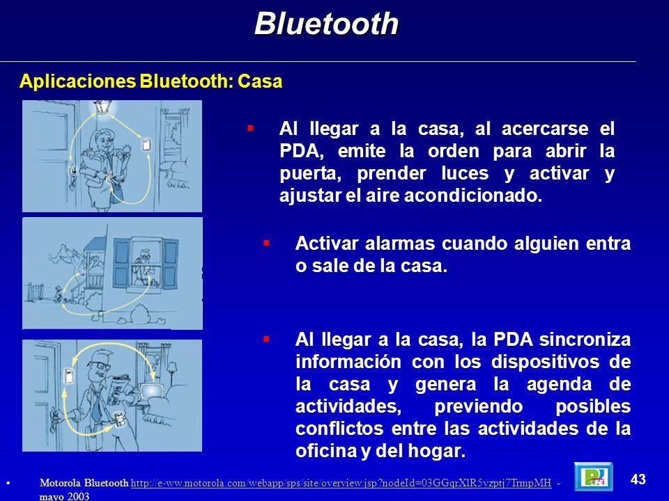 Aplicaciones Bluetooth: CasaBluetooth 43 Al llegar a la casa, al acercarse el PDA, emite la orden para abrir la puerta, prender luces y activar y ajus