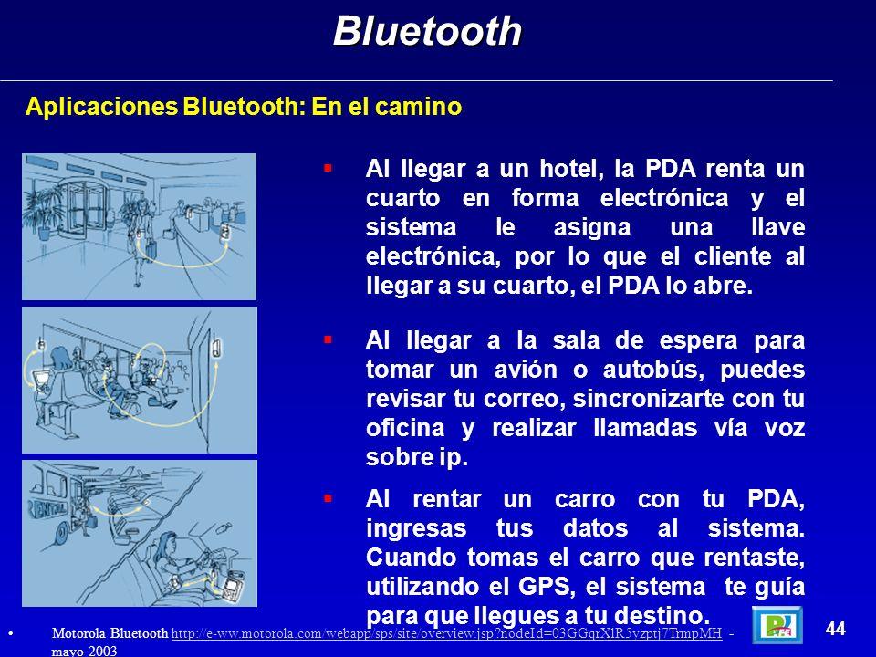 Aplicaciones Bluetooth: En el caminoBluetooth 44 Al llegar a un hotel, la PDA renta un cuarto en forma electrónica y el sistema le asigna una llave el