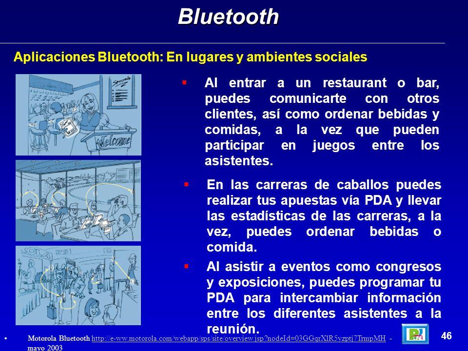 Aplicaciones Bluetooth: En lugares y ambientes socialesBluetooth 46 Al entrar a un restaurant o bar, puedes comunicarte con otros clientes, así como o
