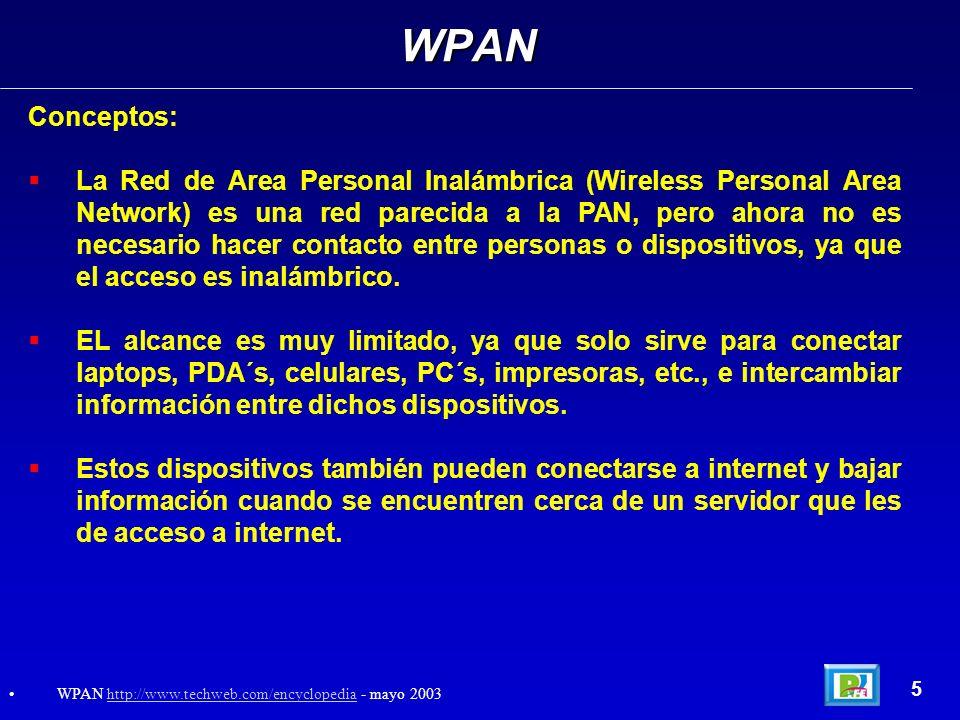 Conceptos: La Red de Area Personal Inalámbrica (Wireless Personal Area Network) es una red parecida a la PAN, pero ahora no es necesario hacer contact