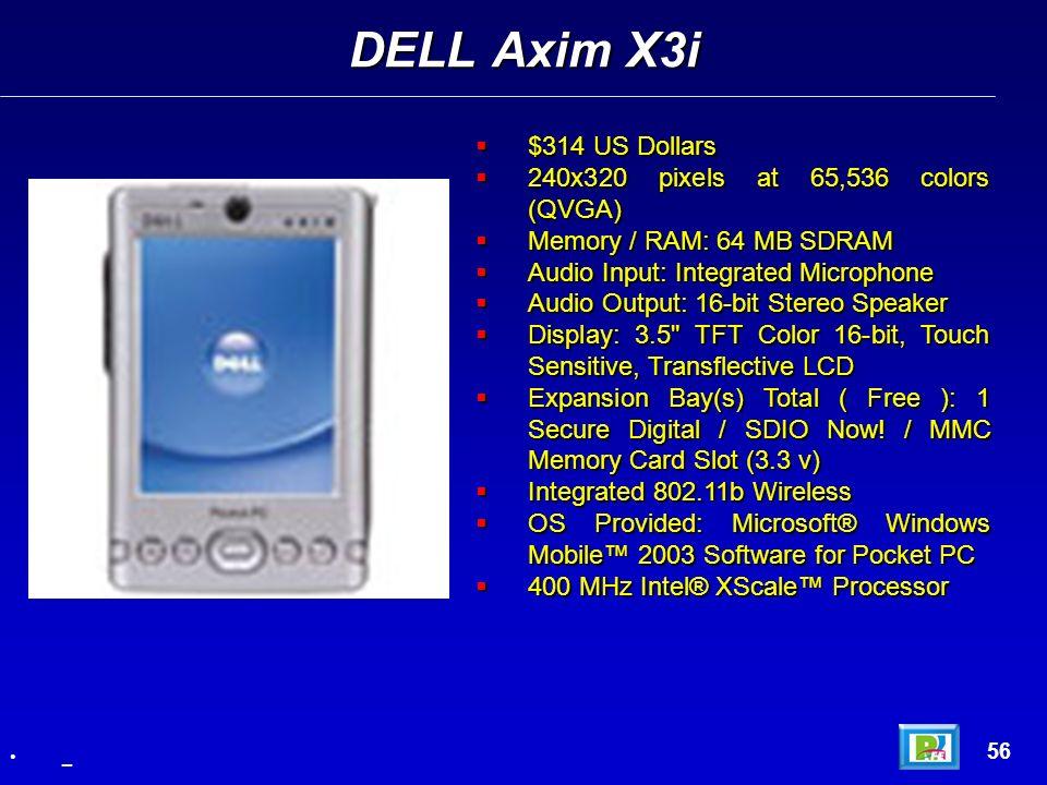 $314 US Dollars $314 US Dollars 240x320 pixels at 65,536 colors (QVGA) 240x320 pixels at 65,536 colors (QVGA) Memory / RAM: 64 MB SDRAM Memory / RAM: