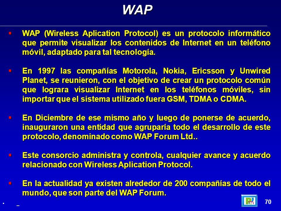 WAP (Wireless Aplication Protocol) es un protocolo informático que permite visualizar los contenidos de Internet en un teléfono móvil, adaptado para t