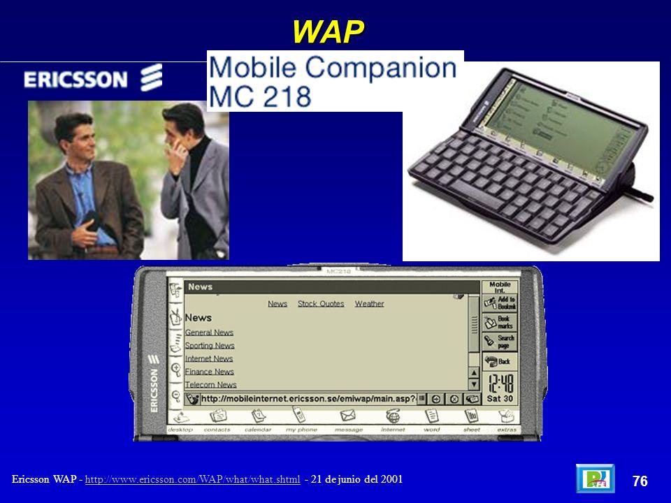 WAP Ericsson WAP - http://www.ericsson.com/WAP/what/what.shtml - 21 de junio del 2001http://www.ericsson.com/WAP/what/what.shtml 76