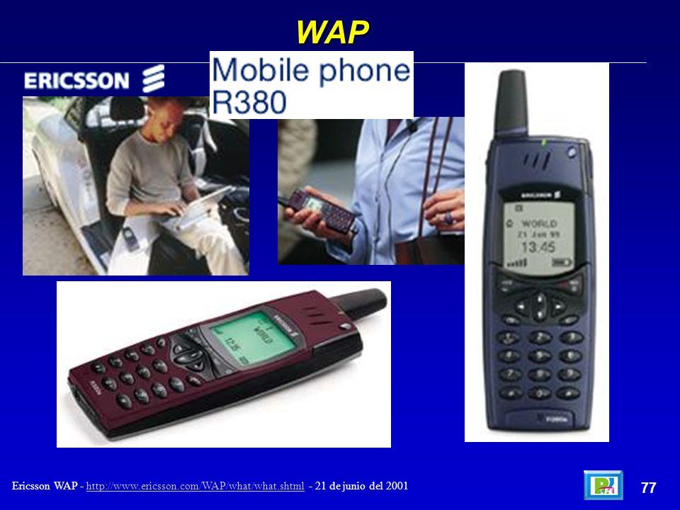 WAP 77 Ericsson WAP - http://www.ericsson.com/WAP/what/what.shtml - 21 de junio del 2001http://www.ericsson.com/WAP/what/what.shtml