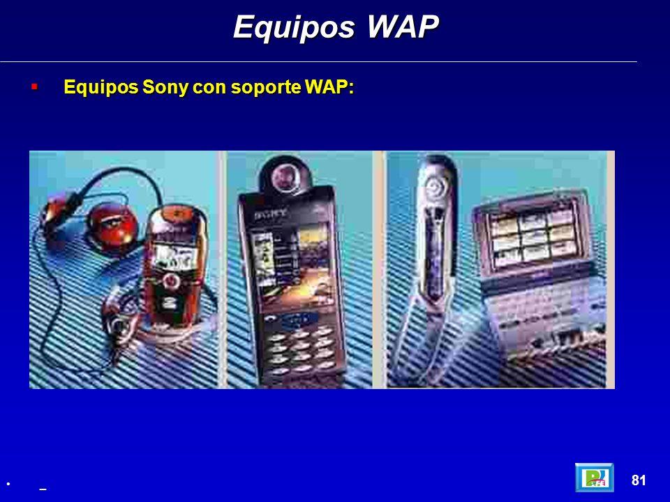 Equipos Sony con soporte WAP: Equipos Sony con soporte WAP: Equipos WAP 81 _