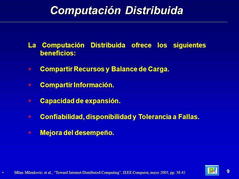 La Computación Distribuida ofrece los siguientes beneficios: Compartir Recursos y Balance de Carga. Compartir Información. Capacidad de expansión. Con