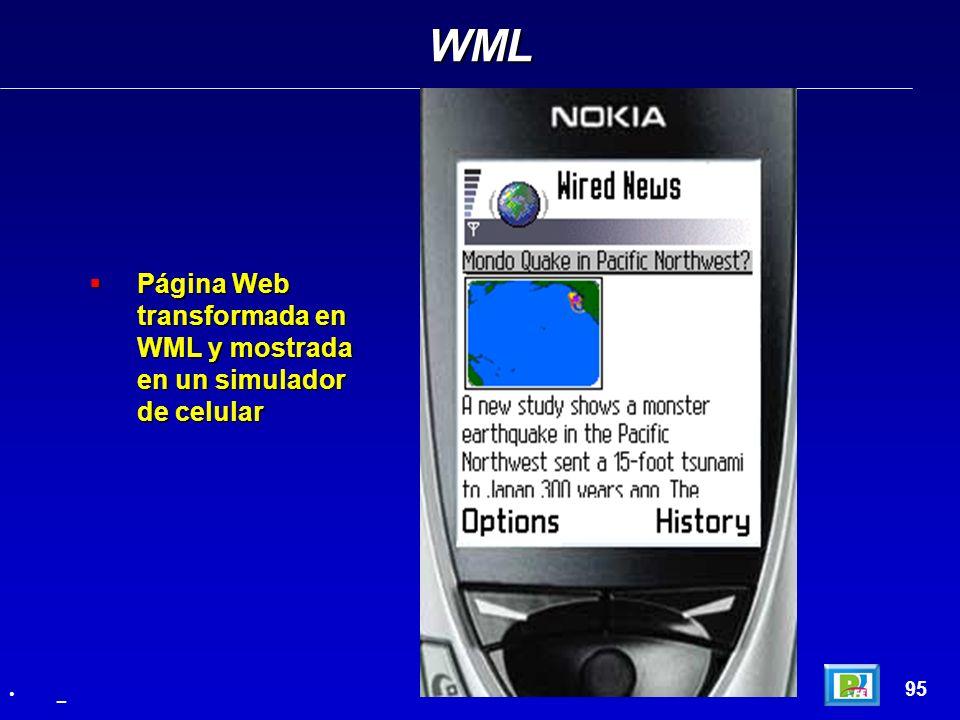 WML 95 _ Página Web transformada en WML y mostrada en un simulador de celular Página Web transformada en WML y mostrada en un simulador de celular