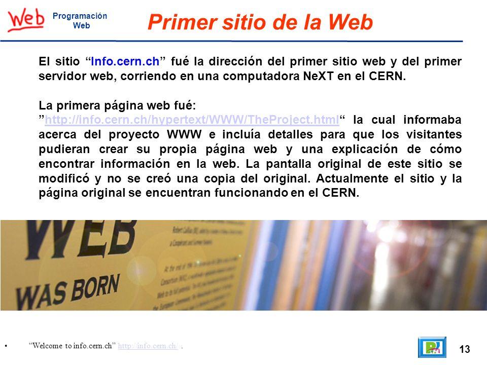 13 Welcome to info.cern.ch http://info.cern.ch/.http://info.cern.ch/ Programación Web Primer sitio de la Web El sitio Info.cern.ch fué la dirección de