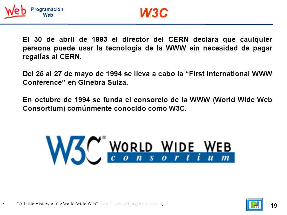 19 A Little History of the World Wide Web http://www.w3.org/History.html,http://www.w3.org/History.html Programación Web W3C El 30 de abril de 1993 el