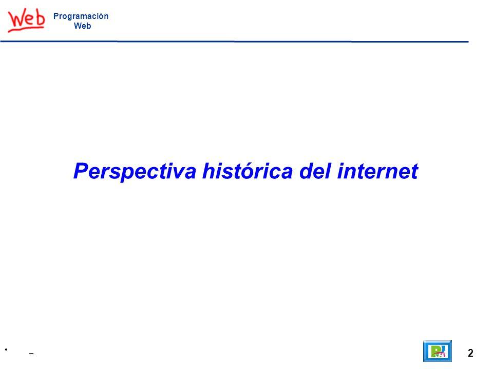 3 A Little History of the World Wide Web, http://www.w3.org/History.html, Vannevar Bush – Wikipedia, http://es.wikipedia.org/wiki/Vannevar_Bushhttp://www.w3.org/History.html Programación Web Vannevar Bush En 1945 Vannevar Bush escribe un artículo en la revista Atlantic Monthly acerca de un mecanismo foto-eléctrico denominado Memex, el cual podía serguir enlaces entre documentos en un microficha.