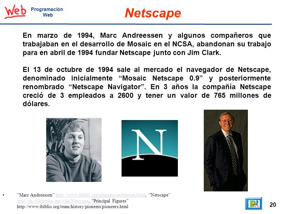20 Marc Andreessen http://www.ibiblio.org/pioneers/andreesen.html, Netscape http://en.wikipedia.org/wiki/Netscape, Principal Figures http://www.ibibli