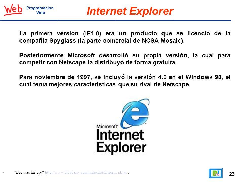 23 Browser history http://www.blooberry.com/indexdot/history/ie.htm.http://www.blooberry.com/indexdot/history/ie.htm Programación Web Internet Explore