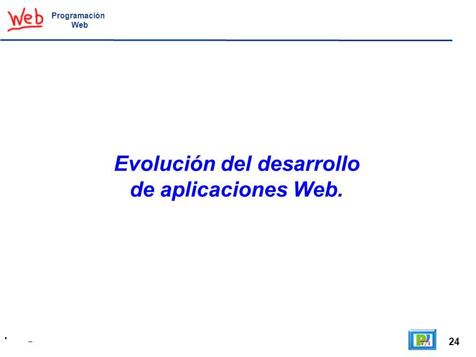 24 _ Programación Web Evolución del desarrollo de aplicaciones Web.
