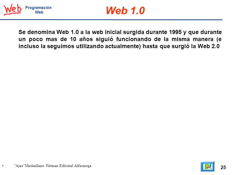 25 AjaxMaximiliano Firtman Editorial Alfaomega. Programación Web Web 1.0 Se denomina Web 1.0 a la web inicial surgida durante 1995 y que durante un po