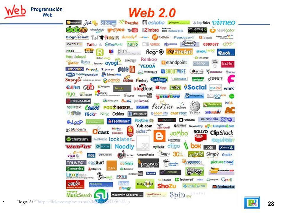 28 logo 2.0 http://flickr.com/photos/stabilo-boss/93136022/.http://flickr.com/photos/stabilo-boss/93136022/ Programación Web Web 2.0