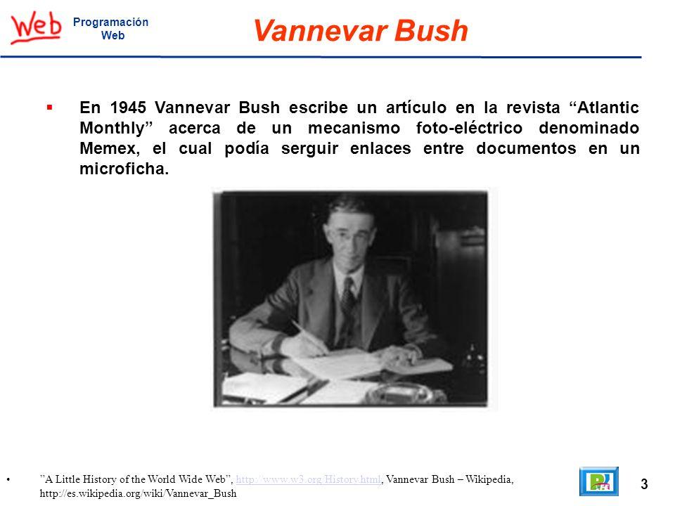 3 A Little History of the World Wide Web, http://www.w3.org/History.html, Vannevar Bush – Wikipedia, http://es.wikipedia.org/wiki/Vannevar_Bushhttp://