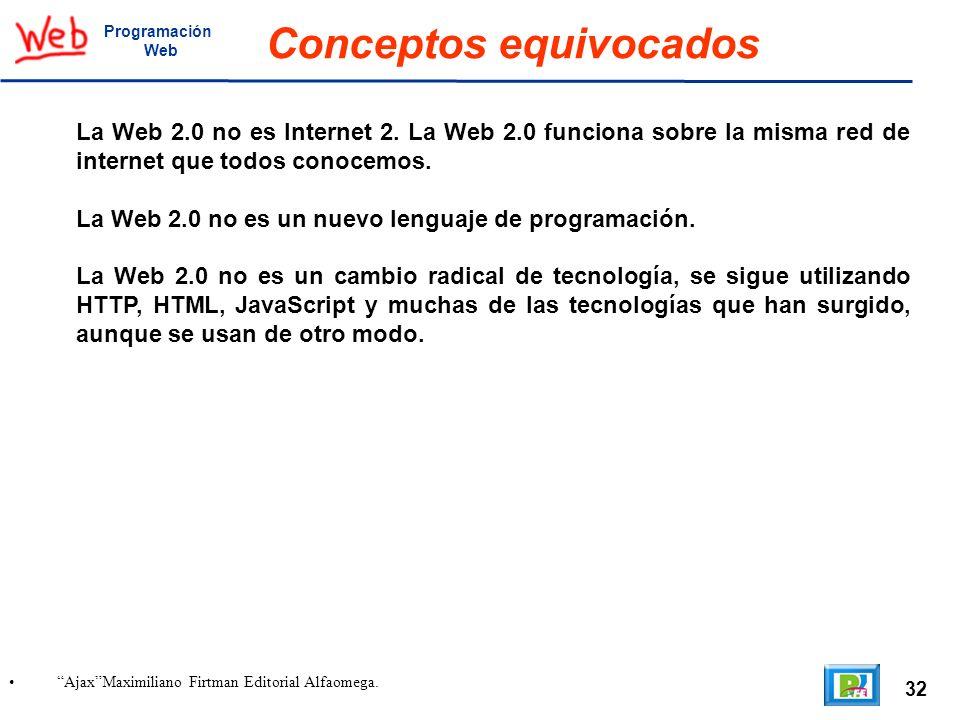 32 AjaxMaximiliano Firtman Editorial Alfaomega. Programación Web Conceptos equivocados La Web 2.0 no es Internet 2. La Web 2.0 funciona sobre la misma
