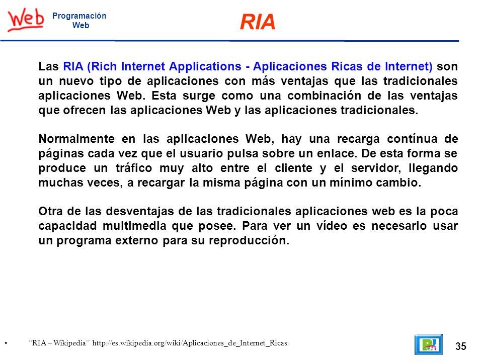 35 RIA – Wikipedia http://es.wikipedia.org/wiki/Aplicaciones_de_Internet_Ricas Programación Web RIA Las RIA (Rich Internet Applications - Aplicaciones