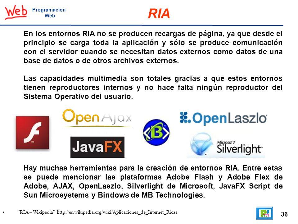 36 RIA – Wikipedia http://es.wikipedia.org/wiki/Aplicaciones_de_Internet_Ricas Programación Web RIA En los entornos RIA no se producen recargas de pág