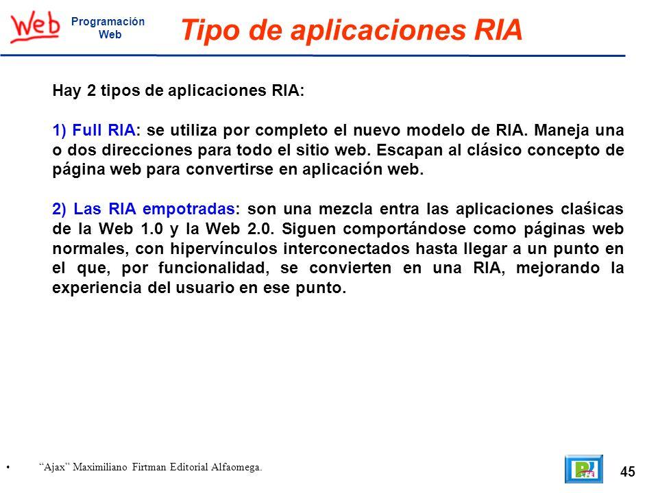 45 Ajax Maximiliano Firtman Editorial Alfaomega. Programación Web Tipo de aplicaciones RIA Hay 2 tipos de aplicaciones RIA: 1) Full RIA: se utiliza po